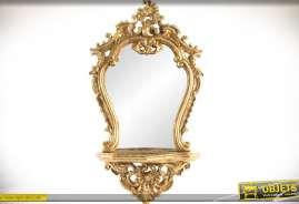 Miroir de style baroque finition dorée avec tablette en console