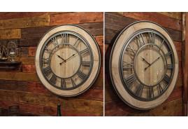 Horloge rétro indus. en bois et métal argenté. Diamètre 72 cm.