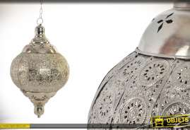 Suspension style lanterne en métal style brossé de 32 cm de diamètre