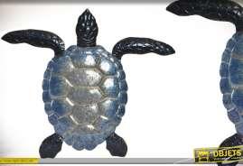 Grande tortue murale en métal finitions déclinaison de bleu