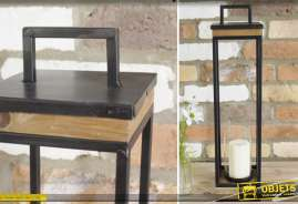 Haute lanterne carrée en métal noir et bois naturel vieilli