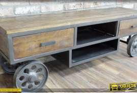 Meuble TV en bois et métal de style industriel esprit draisine ancienne
