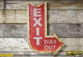 Grand panneau indicateur en métal de style rétro : Exit way out
