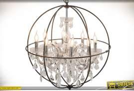 Grand lustre en forme de sphère avec ornementation en pampilles et habillages en verre