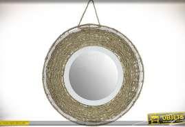 Miroir rond en bois et fibre végétale tressée coloris écru et blanc