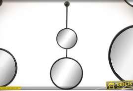 Double miroir en colonne sur barre de métal noir, avec deux glaces circulaires, style design