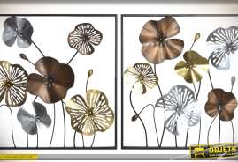 Duo de tableaux floraux encadrés en métal avec finition teinte et textures métallisées