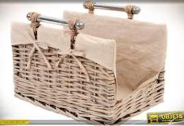Panier à bois en osier et tissu coloris lin écru, avec poignées de transport en métal finition chromée