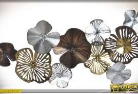 Grande déco murale en métal à motifs de fleurs stylisées finition effet métal : cuivré, doré, argenté