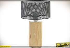 Petite lampe de style scandinave en bois et métal, coloris bois clair et gris foncé