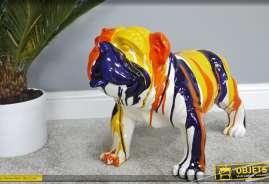 Grand bouledogue anglais en réssine finition multicolore design