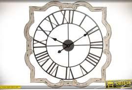 Horloge décorative murale rétro en bois et métal patine crème clair et métal vieilli