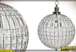 Lustre sphère en métal argenté avec pampilles effet cristal à facettes, rectangulaires et rondes