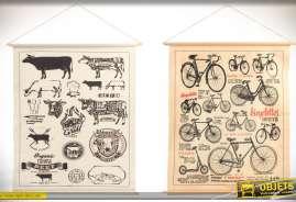Duo de tableaux sur toile tendue à suspendre au mur : réclames anciennes planches thématiques, bicyclettes et boeufs.