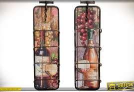 Duo de porte-bouteilles muraux en métal illustration sur le thème de la vigne et du vin