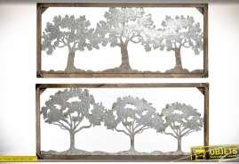 Ensemble de deux tableaux décoratifs muraux en bois et métal représentants de bosquets d'arbres