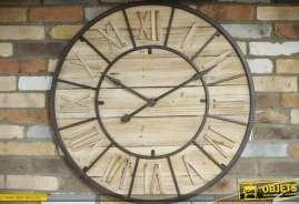 Maxi horloge en bois et métal de style rétro, industriel et rustique