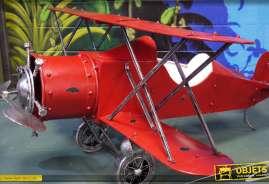 Grand avion décoratif en métal en forme de biplan rouge rétro