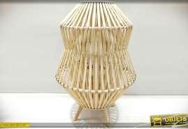 Grand bougeoir-lanterne en bambou naturel et verre Ø 40 cm