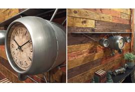 Grande étagère avion ancien en métal aspect acier galvanisé gris avec horloge centrale