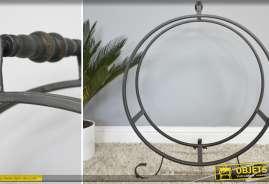 Porte-bûches en métal et fer forcé de style rustique et de forme circulaire