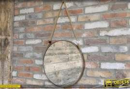 Miroir suspendu de style rétro et industriel, forme ronde