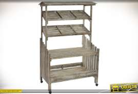Grand présentoir en bois vieilli à 4 niveaux dont deux en plans inclinés