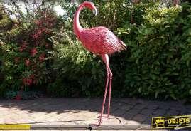 Grand flamand rose décoratif en métal et fer forgé pour ornementation de parcs et jardins