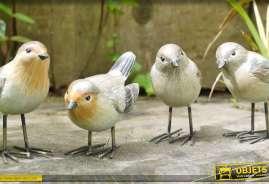 Ensemble de 4 oiseaux décoratifs en métal