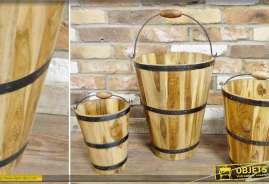 Ensemble de 3 seaux gigognes de style rustique en bois et métal