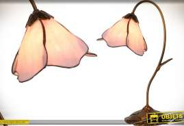 Lampe de prestige style Art Déco en pate de verre et laiton cuivré vieilli en forme de grande fleur