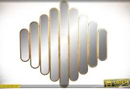 Grand miroir multiple en métal doré style design finition or vieilli