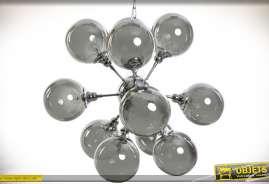 Grande suspension de style design et Art Déco, grappe de 12 sphères en verre fumé gris clair