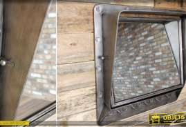 Grand miroir avec visière en métal gris argenté vieilli, style industriel et ancien
