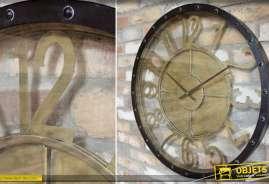 Grande horloge circulaire en verre et en métal de style industriel finition noir et doré vieilli