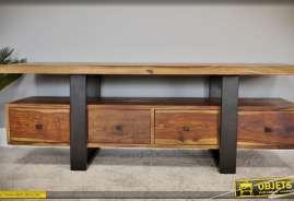 Meuble TV esprit indus et rustique en bois et métal massifs, finition sheesham naturel et noir mat
