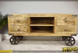 Meuble TV en bois massif et métal, style wagonnet d'atelier ou d'usine