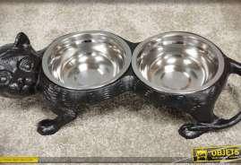 Gamelle pour chats réalisée en fonte et en forme de statuette de chat, pourvue de 2 coupelles.en inox