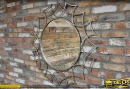 Miroir décoratif en métal gris argenté de style design Ø 95 cm