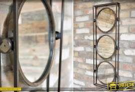 Miroir en métal de style industriel avec trois glaces rondes