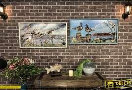 Duo de tableaux oiseaux de bord de mer, en bois et métal en relief