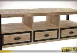 Meuble TV rustique bois naturel et métal noir, trois tiroirs et trois niches multimédia