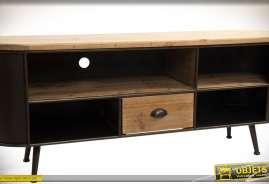 Meuble TV vintage en bois naturel et métal brun avec 4 niches multimédia et un tiroir