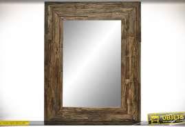 Grand miroir en bois recyclé de style rustique finiton bois oxydé vieilli
