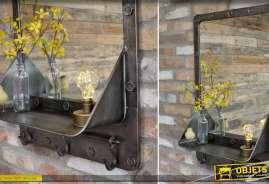 Miroir en métal de style industriel patine gris anthracite avec étagère