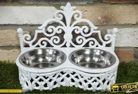 Gamelle pour chiens et chats, coloris blanc, en fonte et inox (avec 2 bols)
