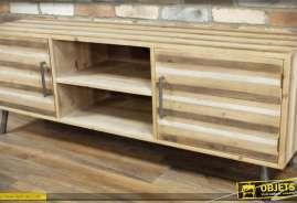 Grand meuble TV en bois effet rayures horizontales en trois tonalités
