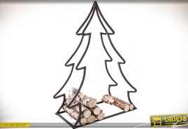 Rack à bûche original en forme de sapin en métal, style déco de Noël