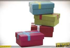 Lot de 16 boîtes en carton avec couvercles, en forme de boîtes cadeaux, coloris assortis