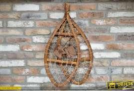 Paire de raquettes de neige de trappeur en bois et corde, pour décoration murale